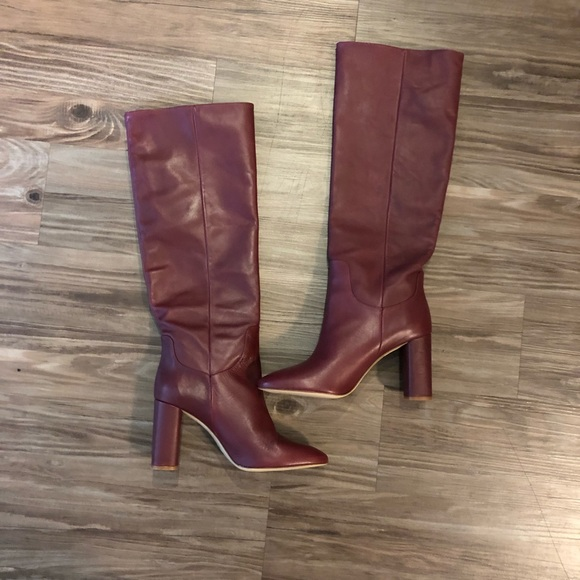 hot-seeling original online retailer wide selection of colors Zara Women's red Leather knee high boots